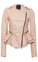 Marissa Webb Shane Leather Peplum Jacket Nude