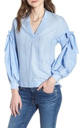 Scotch And Soda Bow Puff Sleeve Top Sky Blue