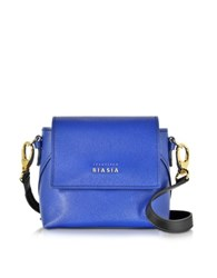 Francesco Biasia Lucille Saffiano Leather Two Tone Crossbody Bag Blue