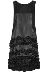 Comme Des Garcons Ruffle Trimmed Washed Satin Dress Black