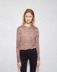 Proenza Schouler Long Sleeve Printed Tissue Tee Coral And Navy Etch