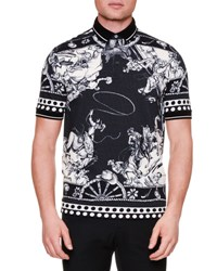 Dolce And Gabbana Western Print Pique Polo Shirt Black White Black White