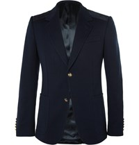 Gucci Navy Slim Fit Suede Trimmed Stretch Cotton Blazer Blue