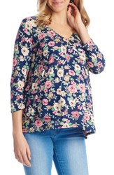 Everly Grey Women's Isabella Maternity Nursing Top Navy Floral