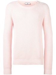 Ami Alexandre Mattiussi Flat Ribbed Crew Neck Sweater Pink Purple