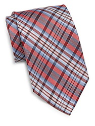 Burma Bibas Plaid Silk Tie Red