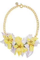 Matthew Williamson Gold Tone Perspex And Crystal Necklace Yellow