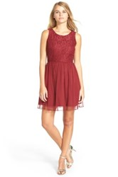 Speechless Floral Lace Skater Dress Juniors Red
