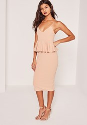 Missguided Nude Crepe Strappy Peplum Midi Dress