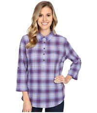 Royal Robbins Oasis Plaid Pullover Top Amethyst Women's Long Sleeve Pullover Purple