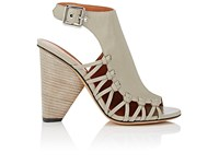 Derek Lam Women's Nora Leather Halter Strap Sandals Grey Silver