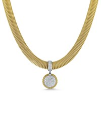 Alor Spring Coil Cable And Round Diamond Pendant Necklace 18Kt Wg