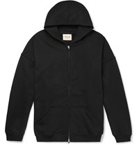 Fear Of God Loopback Cotton Jersey Zip Up Hoodie Black