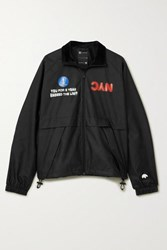 Adidas By Alexander Wang Originals Velour Trimmed Printed Shell Track Jacket Black