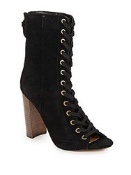 Steve Madden Lace Up Leather Booties Taupe