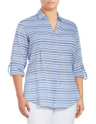 Lord And Taylor Plus Nancy Striped Cotton Shirt Green