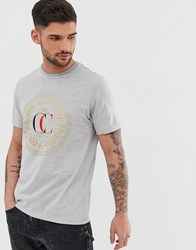 River Island T Shirt With Embroidered Emblem In Grey
