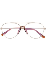 Brioni Aviator Style Glasses Gold