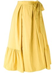 Dries Van Noten Pleated Skirt Yellow Orange