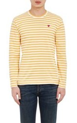 Comme Des Garcons Comme Des Garcons Play Men's Striped Long Sleeve T Shirt Yellow