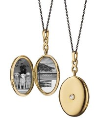 Monica Rich Kosann 18K Gold Locket Necklace With Diamond Center