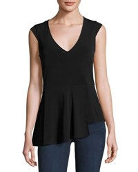 Laundry By Shelli Segal Asymmetric Peplum Solid Top Black