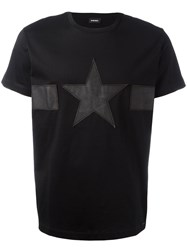 Diesel Star Print T Shirt Black