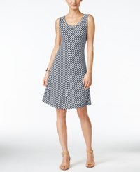 Style And Co Co. Chevron Striped A Line Dress Only At Macy's Stripe Ink