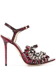Paula Cademartori Embellished High Heel Sandals Red