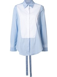 Tome Poplin Tie Back Shirt Blue