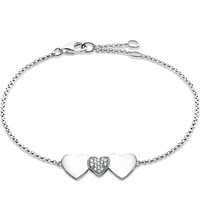 Thomas Sabo Classic Sterling Silver And Zirconia Pave Heart Bracelet