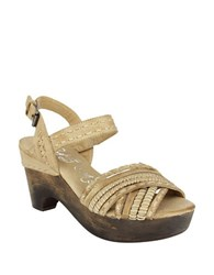 Naughty Monkey Calla Wooden Wedge Leather Sandals Cream