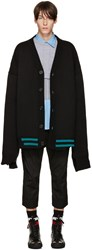 Raf Simons Black Ovesized Destroyed Cardigan