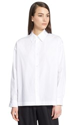 Women's Eskandar Slim A Line Cotton Poplin Shirt