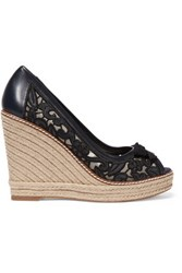 Tory Burch Lucia Embroidered Mesh And Leather Wedge Espadrilles Midnight Blue
