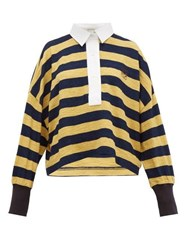Loewe Stripe Cotton Knitted Polo Top Yellow Multi