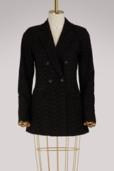 Jour Ne Broderie Anglaise Double Breasted Jacket Black