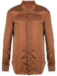 Rick Owens Concealed Fastened Shirt Brown
