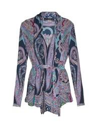 Etro Paisley Print Waterfall Shirt Purple Multi
