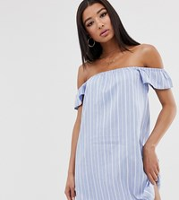 Missguided Bardot Mini Dress In Blue Stripe Multi