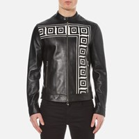 Versace Collection Men's Printed Leather Jacket Black