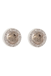 Susan Foster 18K White Gold Diamond Slice Studs With Micro Pave Diamonds