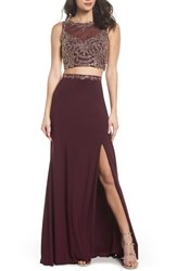 Xscape Evenings 'S Embellished Bodice Two Piece Gown Wine Gold