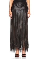 Blk Dnm Fringe Leather Skirt 21 In Black