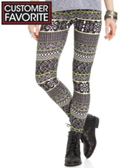 Material Girl Juniors' Aztec Print Leggings Aztec Stripe