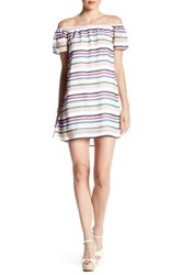 Want And Need Off The Shoulder Multi Stripe Dress Green