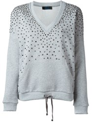 Twin Set Jeans Studded Sweatshirt Grey
