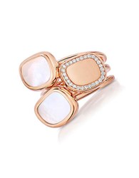 Roberto Coin .Black Jade Diamond Mother Of Pearl And 18K Rose Gold Ring