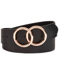 Inc International Concepts I.N.C. Double Circle Belt Created For Macy's Black Rose Gold