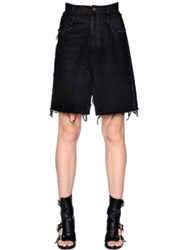 Damir Doma Cotton Denim Skirt W Raw Cut Hem